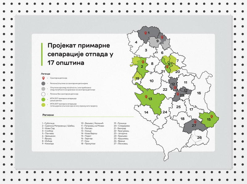 Waste management map in Serbia